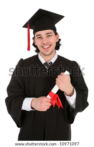 Portrait of a man in graduation robes holding a diploma - stock photo