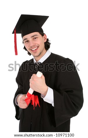 Portrait of a man in graduation robes holding a diploma