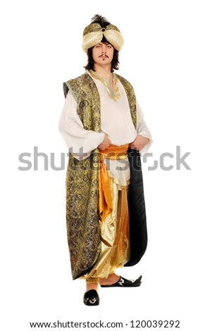 Portrait of a man in oriental costume. Isolated - stock photo