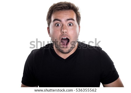 Portrait of a man looking shocked or surprised on a white background