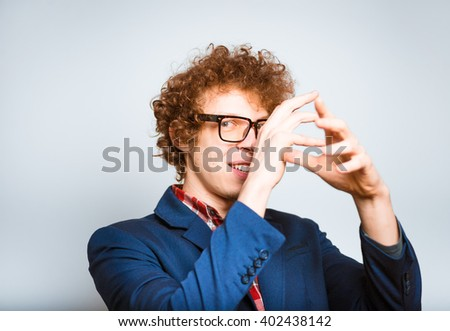 portrait of a man on his guard, isolated on background - stock photo
