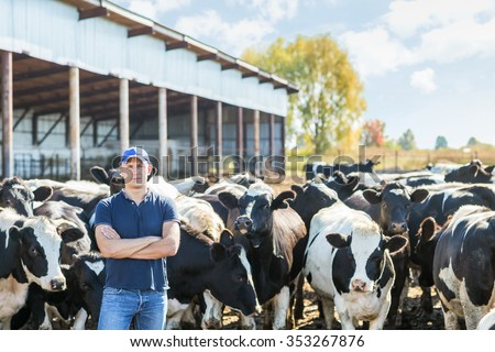 portrait of a man on livestock ranches - stock photo
