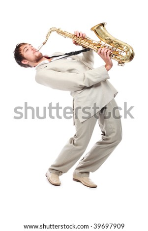 Portrait of a man playing the saxophone. - stock photo