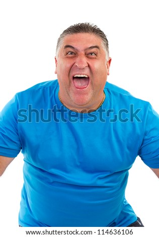 portrait of a man screaming on white background - stock photo