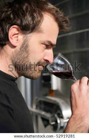 Portrait of a man smelling a glass of wine