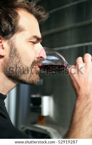 Portrait of a man tasting some wine - stock photo