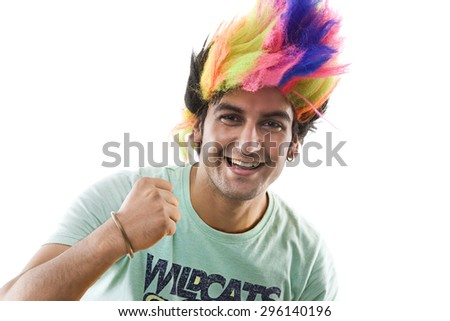 Portrait of a man with a wig cheering