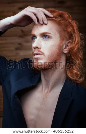 Portrait of a Man with red hair - stock photo