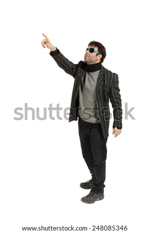 Portrait of a man with sunglasses, isolated on a white background