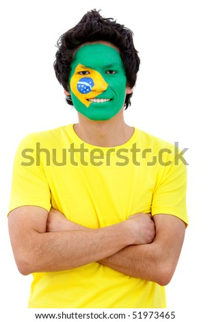 Portrait of a man with the brazilian flag painted on his face isolated over white - stock photo