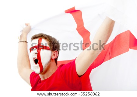 Portrait of a man with the English flag painted on her face - over a white background - stock photo