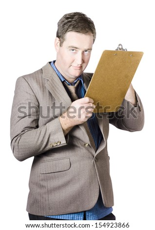 Portrait Of A Mature Businessman Holding Clipboard On White Background
