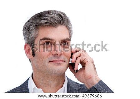 Portrait of a mature businessman on phone isolated in a white background