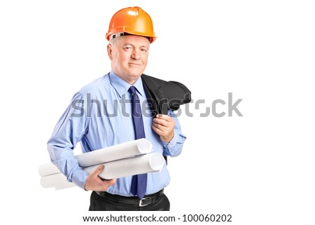 Portrait of a mature construction worker with helmet holding blueprints isolated on white background - stock photo