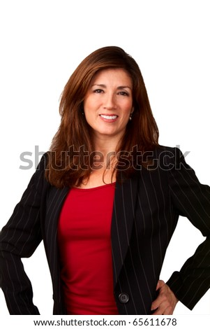 Portrait of a mature pretty businesswoman wearing red blouse and a black jacket.  Isolated on white background. - stock photo