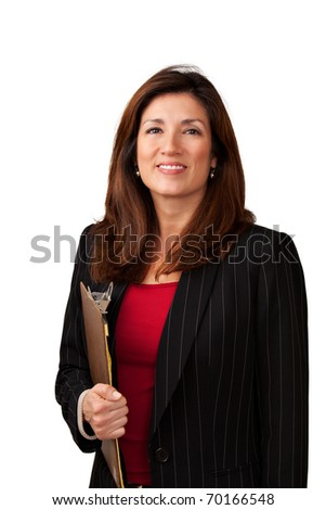 Portrait of a mature pretty businesswoman wearing red blouse and a black jacket. Isolated on white background. Holding a clipboard. - stock photo