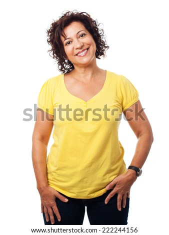 portrait of a mature woman posing on a white background - stock photo