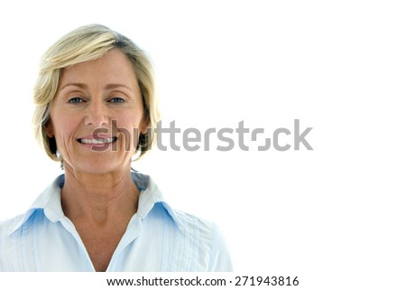 Portrait of a mature woman - white background with copy space - stock photo
