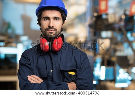 Portrait of a mechanical engineer - stock photo