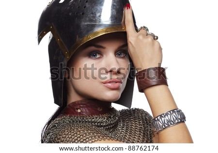 Portrait of a medieval female knight in armour - stock photo
