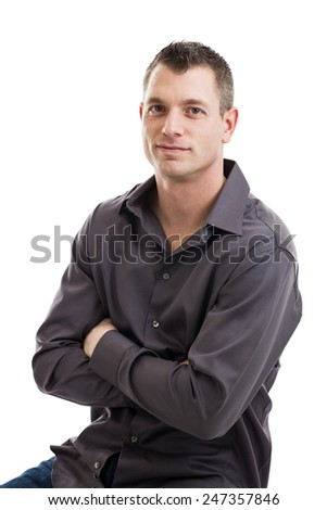 Portrait of a mid 30s casual businessman isolated on a white background - stock photo