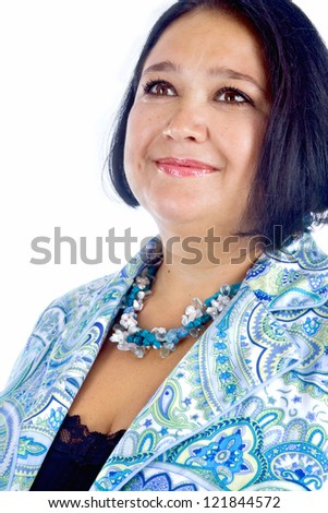 Portrait of a middle aged woman, studio shot - stock photo