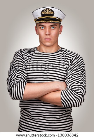 "Portrait of a military sailor in style "" Esquire "" . Navy officer - stock photo"