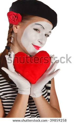 Portrait of a mime, valentine day concept. Isolated over white background