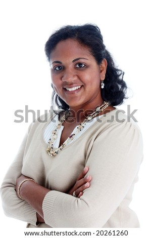 Portrait of a minority woman on white background