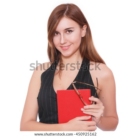 Portrait of a modern business woman on the white background , with copy space. Happy smiling business woman. Business woman with glasses. She is holding a diary or notebook.