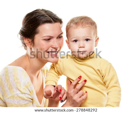 Portrait of a mother and her baby daughter on white background - stock photo