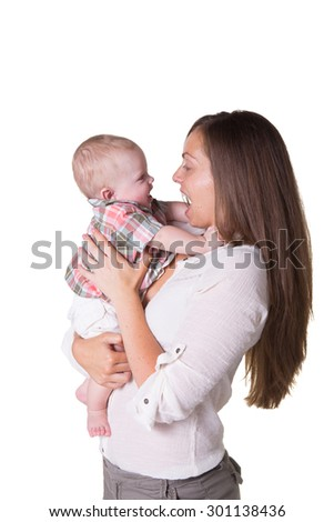 Portrait of a mother and her baby son isolated on white - stock photo