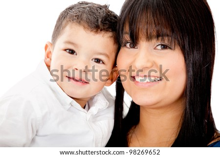 Portrait of a mother carrying her son - isolated over a white background - stock photo