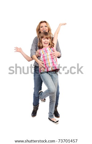 Portrait of a mother with her daughter isolated on white background - stock photo
