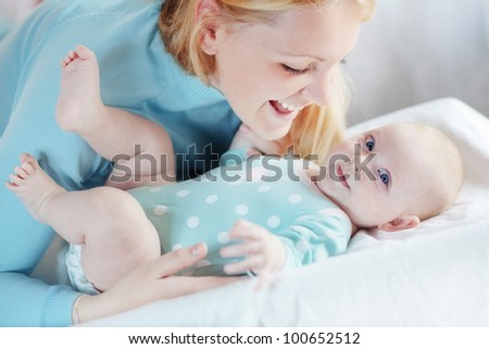 Portrait of a mother with her 4 months baby