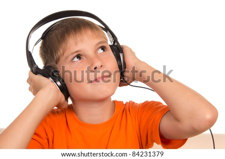 portrait of a nice boy with headphones