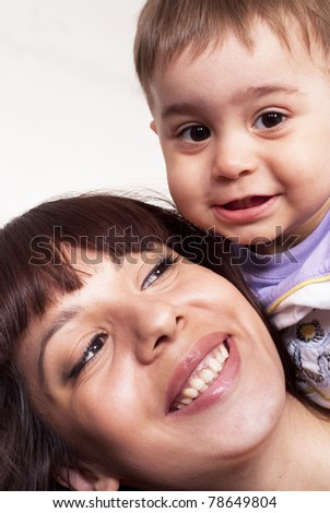 portrait of a nice boy with his mom