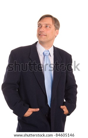 portrait of a nice  businessman posing on white