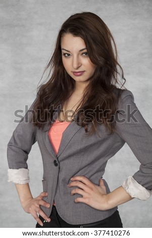 Portrait of a nice businesswoman - stock photo