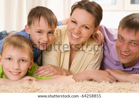 portrait of a nice family on a white background