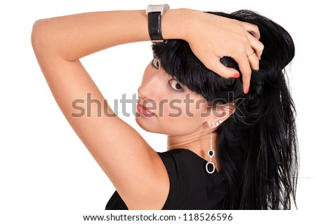 portrait of a nice sweet girl on a white - stock photo