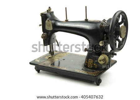 portrait of a old italian sewing machine / vintage sewing machine - stock photo