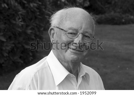 Portrait of a pensioner: 80 years old (B/W)