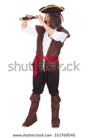 Portrait Of A Pirate Holding Telescope Over White Background - stock photo