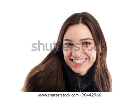portrait of a pretty brunet young woman with brown hair looking at camera isolated on white - stock photo