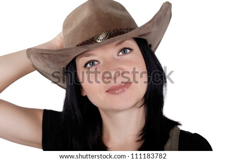 portrait of a pretty cowgirl isolated on white background - stock photo