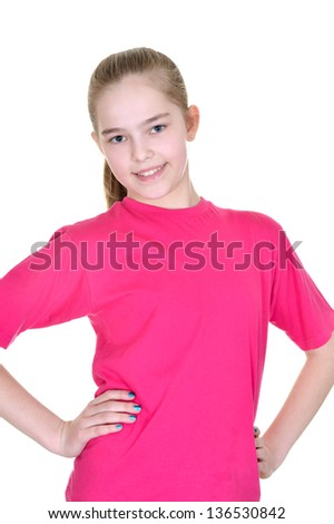 portrait of a pretty girl in a pink shirt on a white background