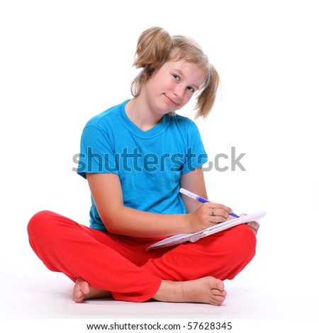 Portrait of a pretty girl with book. - stock photo