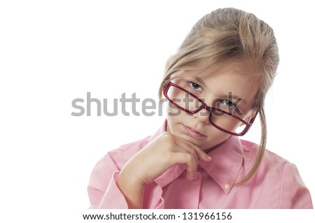Portrait of a pretty girl with glasses - stock photo