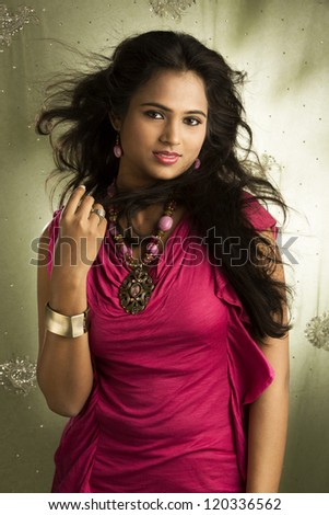 portrait of a pretty Indian young girl - stock photo